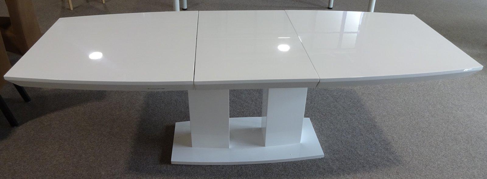 esstisch s ulentisch ausziehbar 180 cm in wei hochglanz. Black Bedroom Furniture Sets. Home Design Ideas