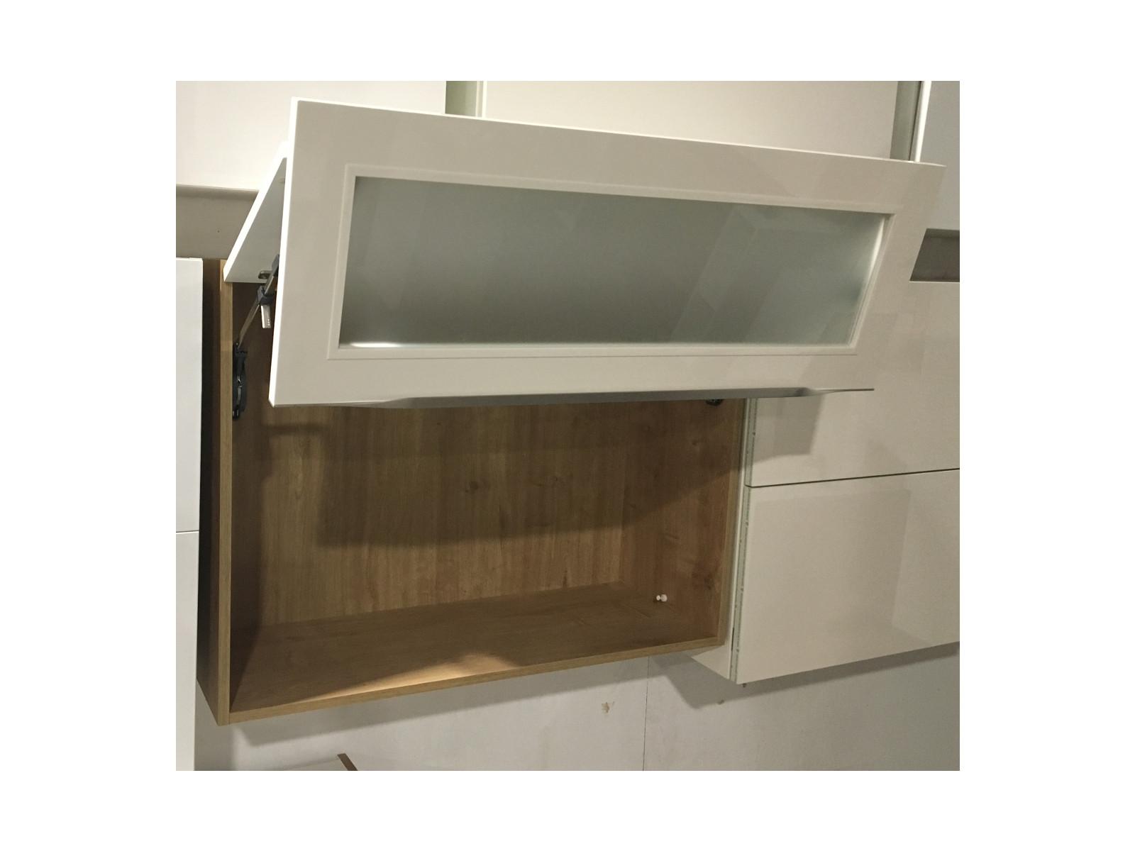 h ngeschrank mit liftt r in magnolia glanz eiche provence mattglas wandschrank ebay. Black Bedroom Furniture Sets. Home Design Ideas