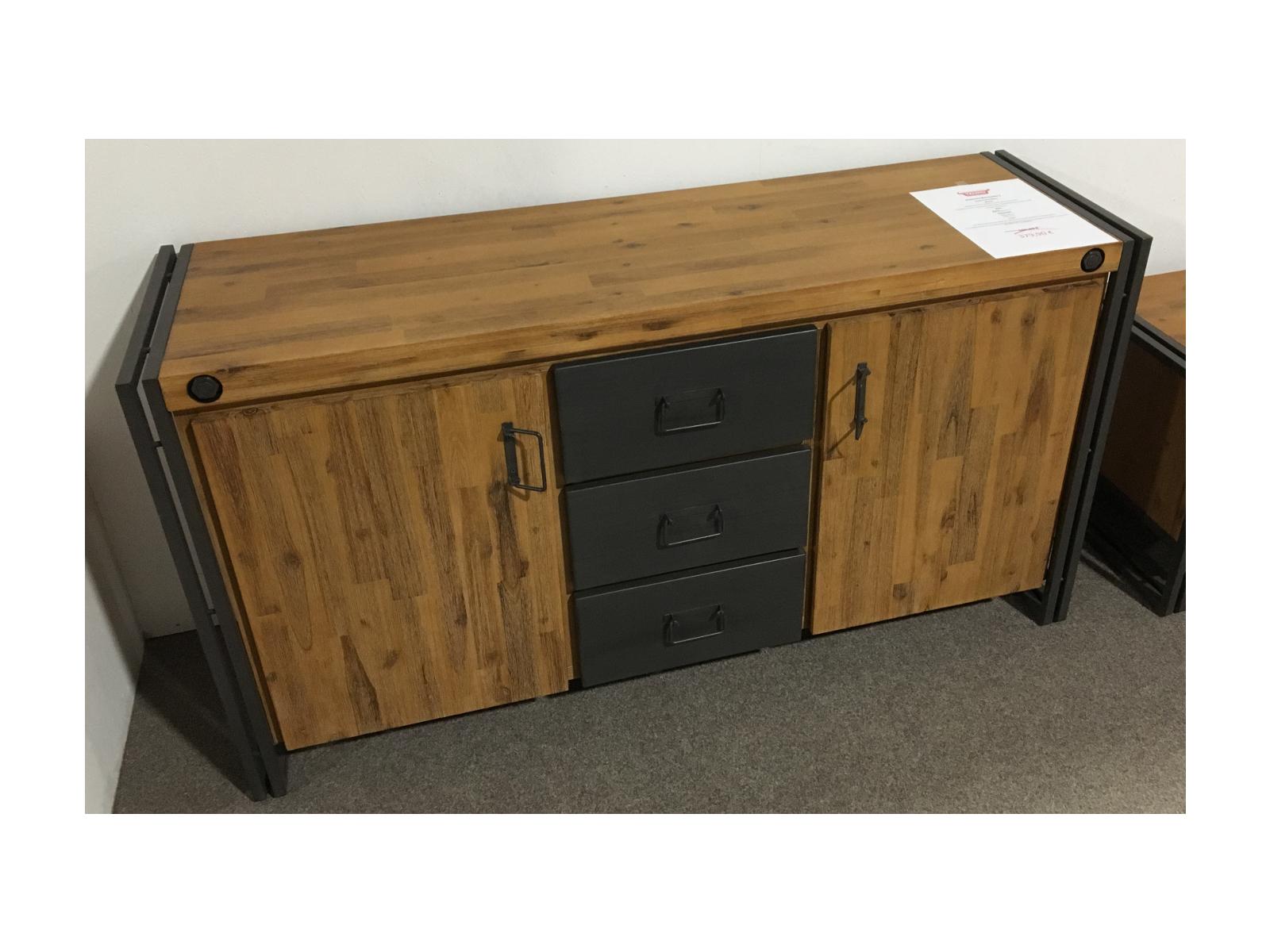 sideboard manchester ii akazie massiv metall kommode tv industrial ebay. Black Bedroom Furniture Sets. Home Design Ideas