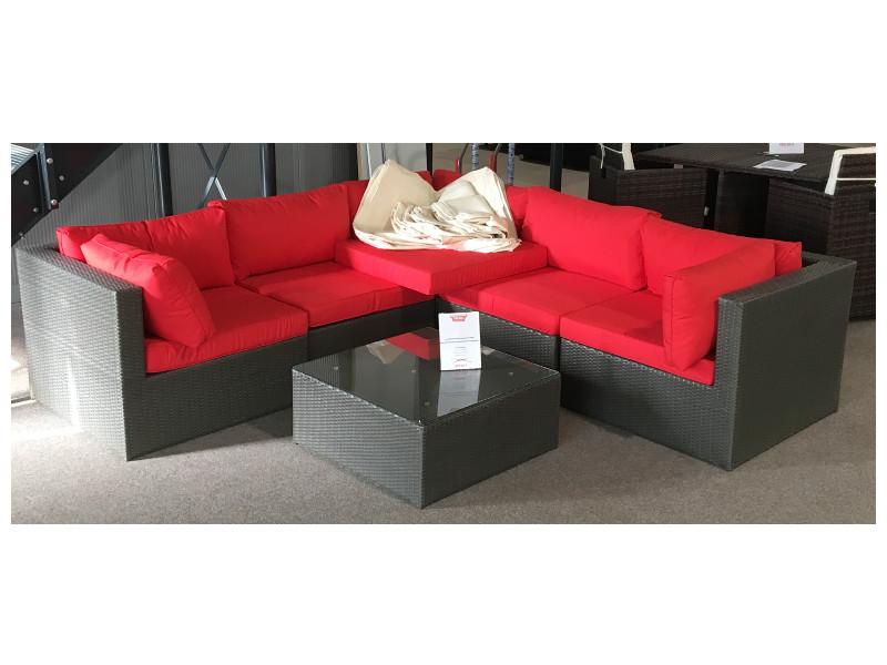 Loungeset Paradise Lounge I (6tlg.Braun / Rot/ Beige mit Ersatzbezügen