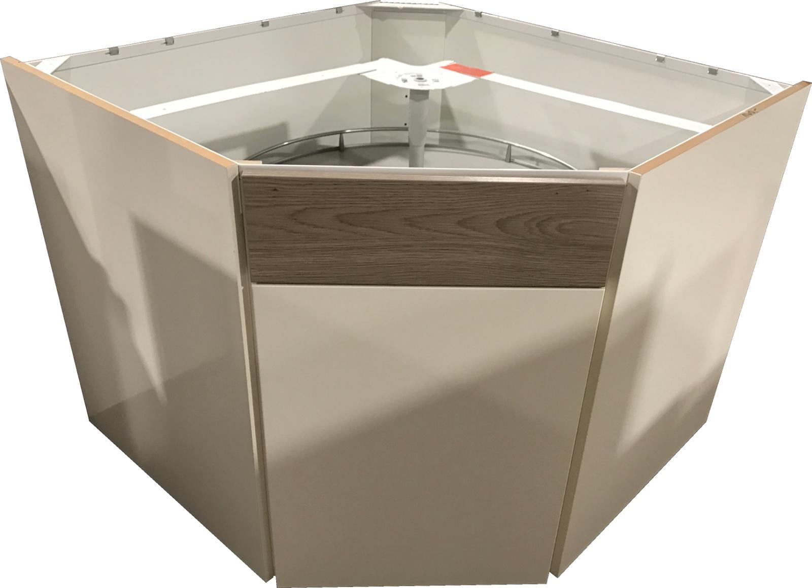 diagonal eckschrank mit einer t r drehkarussell magnolia hochglanz splinteiche ebay. Black Bedroom Furniture Sets. Home Design Ideas
